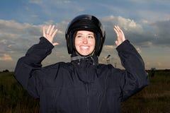 滑稽的纵向微笑妇女 免版税图库摄影