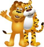 滑稽的老虎和狮子动画片 免版税图库摄影