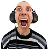 滑稽的耳机人呼喊的立体音响 免版税库存图片