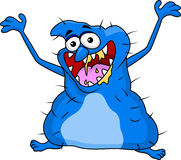 滑稽的蓝色妖怪动画片 免版税库存图片