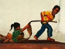 滑稽的街道艺术在马六甲Melaka,马来西亚 免版税图库摄影