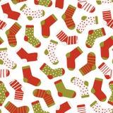 滑稽的袜子的无缝的样式在白色背景的 圣诞节袜子 手拉的平的样式的传染媒介例证 库存例证