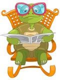 滑稽的读取乌龟 免版税库存图片