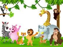 滑稽的通配非洲动物动画片 库存照片