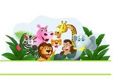 滑稽的通配非洲动物动画片 免版税库存图片