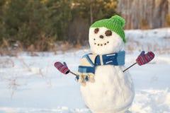 滑稽的雪人在森林里 图库摄影