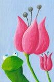 滑稽的青蛙和郁金香 免版税库存照片