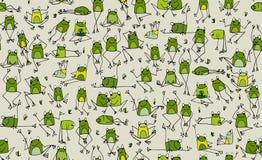滑稽的青蛙样式,您的设计的剪影 皇族释放例证