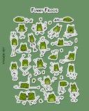 滑稽的青蛙,您的设计的贴纸集合 库存例证