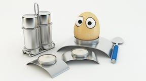 滑稽的鸡蛋作为动画片3d 免版税库存照片