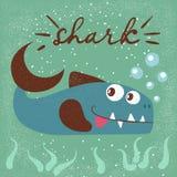 滑稽,逗人喜爱的鱼字符 海动画片例证 印刷品T恤杉的想法 皇族释放例证