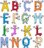 滑稽1部字母表的动画片 库存图片