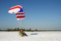 滑翔伞推进器纵排 免版税库存照片