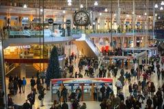 滑铁卢国际火车站在伦敦,一的中心大英国的主要路轨连接点 图库摄影