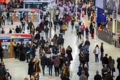 滑铁卢国际火车站在伦敦,一的中心大英国的主要路轨连接点 免版税库存图片