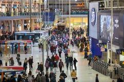 滑铁卢国际火车站在伦敦,一的中心大英国的主要路轨连接点 库存照片