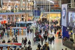 滑铁卢国际火车站在伦敦,一的中心大英国的主要路轨连接点 库存图片