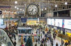 滑铁卢国际火车站在伦敦,一的中心大英国的主要路轨连接点 免版税库存照片