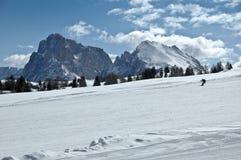 滑雪倾斜,白云岩-意大利 免版税库存图片