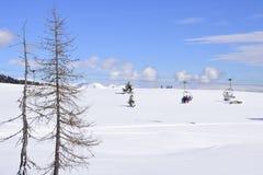 滑雪吊车在阿尔卑斯在一个晴朗的冬日 免版税库存图片
