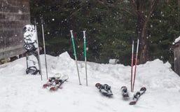 滑雪和雪板运动在随风飘飞的雪 库存图片