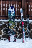 滑雪和雪板运动 免版税库存照片