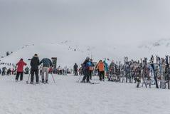 滑雪和Snowbaords在机架在吹口哨山山顶  库存图片