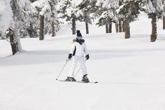 滑雪在一个美好的雪森林风景 滑雪雪体育运动跟踪冬天 库存图片