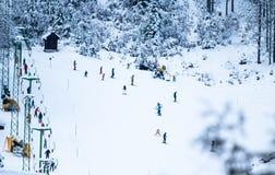 滑雪在冬天风景的倾斜的人们在克拉尼斯卡戈拉在朱利安阿尔卑斯山,斯洛文尼亚 图库摄影