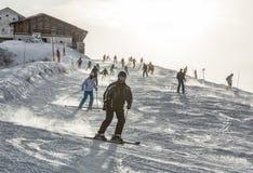 滑雪在阿尔卑斯 库存图片