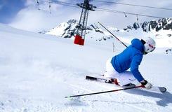 滑雪在Solden,奥地利。 库存图片