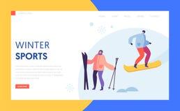 滑雪场登陆页模板的寒假 活跃人字符滑雪和雪板运动在山网站 库存例证