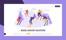 滑雪场登陆页模板的寒假 滑雪在网站或网页的山的活跃人字符 皇族释放例证