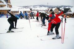 滑雪培训 免版税库存图片