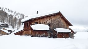 滑雪瑞士山中的牧人小屋Malbun 库存照片