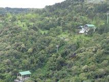 滑雪电缆车的图片在热带森林里在巴西 免版税图库摄影