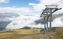 滑雪电缆车的末端驻地 库存照片