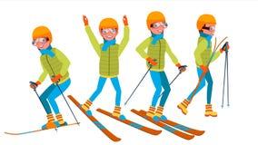 滑雪男性传染媒介 节假日 backcountry滑雪者 使用用不同的姿势 人 隔绝在白色漫画人物 皇族释放例证