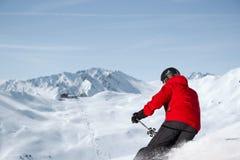 滑雪的下坡全景 库存图片