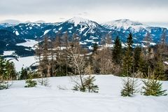 滑雪的积雪覆盖的山 免版税图库摄影