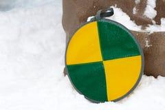 滑雪的软的雪撬在小山 库存照片