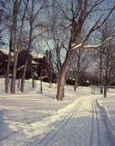 滑雪线索, Montebello,魁北克,加拿大。 免版税库存照片