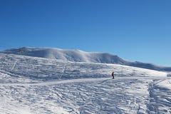 滑雪者下坡滑雪倾斜的在冷的太阳早晨 免版税库存照片