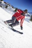 滑雪者倾斜 库存照片