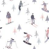 滑雪者和挡雪板的传染媒介例证 无缝的模式 免版税库存图片