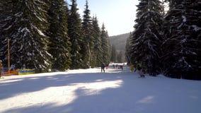 滑雪者沿着走在滑雪场的倾斜 股票录像