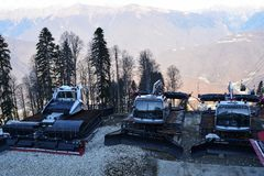 滑雪者的机器 图库摄影