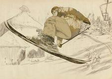 滑雪者-自由的样式滑雪者,窍门 库存图片