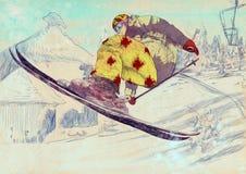 滑雪者-自由的样式滑雪者,窍门 库存照片