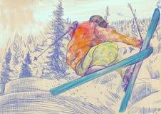 滑雪者-自由的样式滑雪者,窍门 免版税库存图片